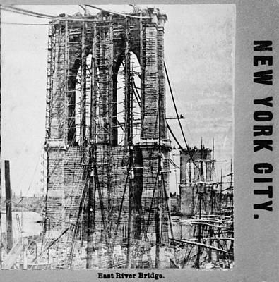 Building The Brooklyn Bridge. Close-up Print by Everett