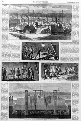 Building The Brooklyn Bridge. Images Print by Everett