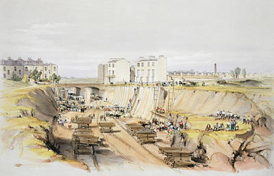 Building The Retaining Wall Near Park Print by John Cooke Bourne