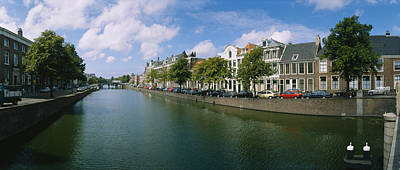 Reflections Of Sky In Water Photograph - Buildings Along A Canal, Haarlem by Panoramic Images