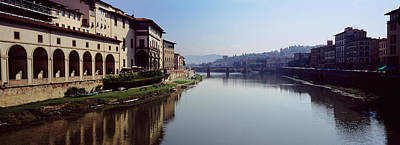 Italy Mediterranean Art Tuscany Photograph - Buildings Along A River, Uffizi Museum by Panoramic Images