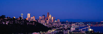 Seattle Skyline Photograph - Buildings In A City, Elliott Bay by Panoramic Images