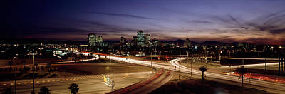 Built Structure Photograph - Buildings In A City Lit Up At Dusk, 7th by Panoramic Images