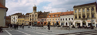 Romania Photograph - Buildings In A City, Town Center by Panoramic Images