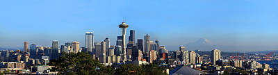 Seattle Skyline Photograph - Buildings In A City With Mountains by Panoramic Images