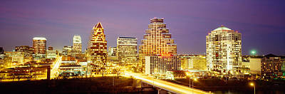 Buildings Lit Up At Dusk, Austin Print by Panoramic Images