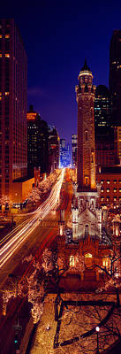 Magnificent Mile Photograph - Buildings Lit Up At Night, Water Tower by Panoramic Images
