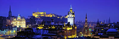 Edinburgh Castle Photograph - Buildings Lit Up At Night With A Castle by Panoramic Images