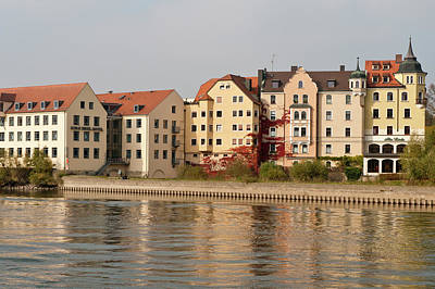 Buildings On The Danube River Print by Michael Defreitas