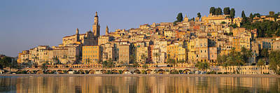Menton Photograph - Buildings On The Waterfront, Eglise by Panoramic Images