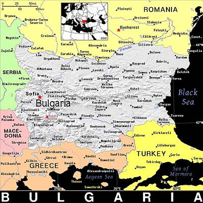 Bulgaria Exotic Map Print by Florene Welebny