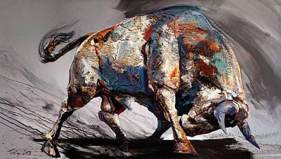 Bull Fight Back Print by Dragan Petrovic Pavle