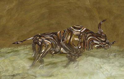 Merging Digital Art - Bull by Jack Zulli