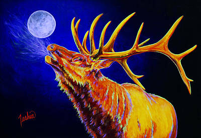 Elk Painting - Bull Moon by Teshia Art