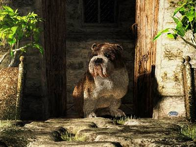 Puppy Digital Art - Bulldog In A Doorway by Daniel Eskridge