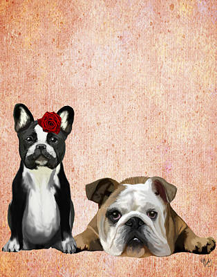 Bulldogs French And English Print by Kelly McLaughlan