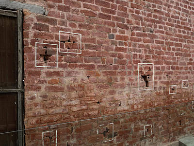 Bullet Holes Outlined In White Paint Print by Panoramic Images