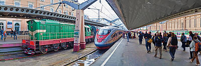 Built Structure Photograph - Bullet Train At A Railroad Station, St by Panoramic Images