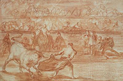 Bullfighter Drawing - Bullfighting by Goya