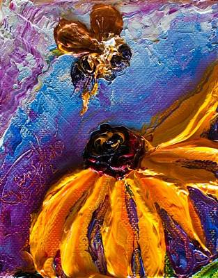 Bumble Bee And Yellow Flower II Print by Paris Wyatt Llanso