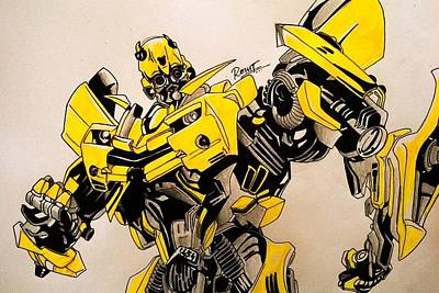 Bumblebee Drawing - Bumblebee Transformers by Rohit Bhattacharya