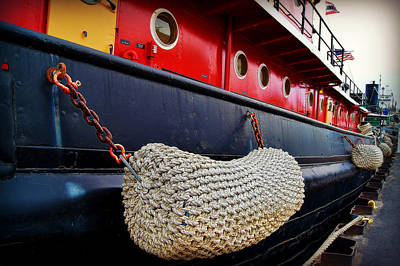 Bumper Detail On The Big Red Tug Print by Carol Toepke