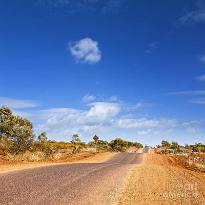 Bumpy Desert Road Outback Queensland Australia Print by Colin and Linda McKie