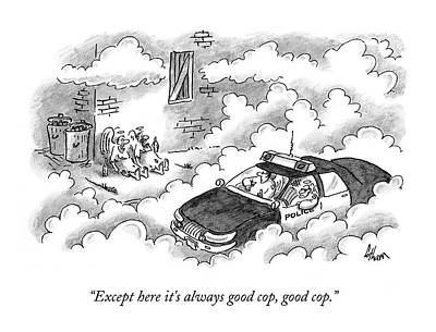 Angels Drawing - Bums Not Harrassed By The Cops In Heaven by Frank Cotham