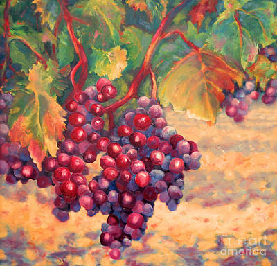 Winery Painting - Bunch Of Grapes by Carolyn Jarvis