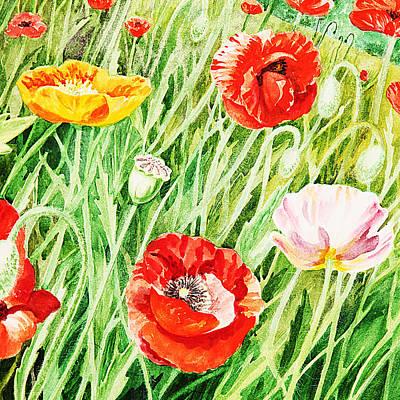 Bunch Of Poppies I Print by Irina Sztukowski