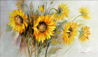 Bunch Of Sunflowers Print by Petrica Sincu