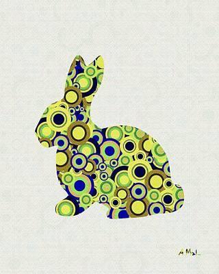 Little Girls Mixed Media - Bunny - Animal Art by Anastasiya Malakhova