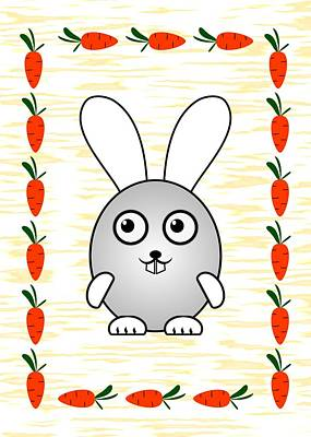 Carrot Mixed Media - Bunny - Animals - Art For Kids by Anastasiya Malakhova