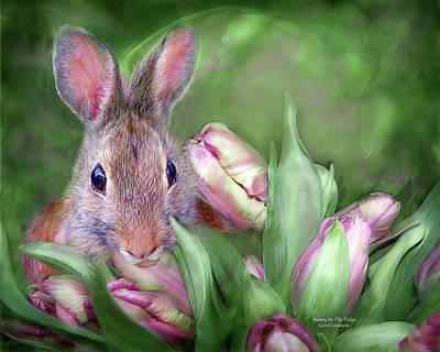 Rabbit Mixed Media - Bunny In The Tulips by Carol Cavalaris