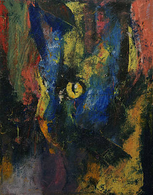 Blue Cat Print by Michael Creese