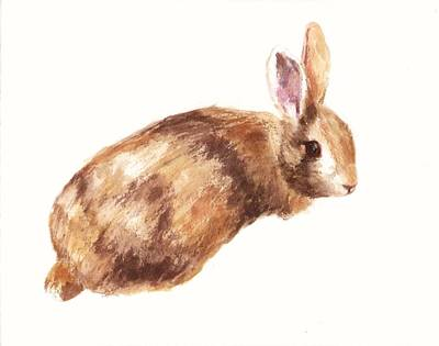 Bunny Print - Coffee And Cream Print by Alison Fennell