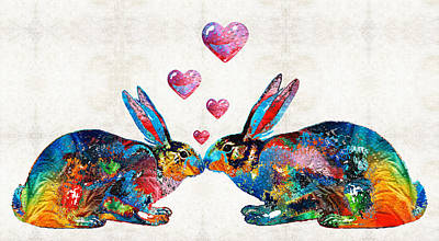 Bunny Rabbit Art - Hopped Up On Love - By Sharon Cummings Print by Sharon Cummings