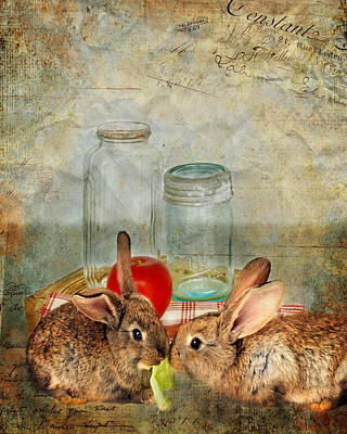 Lettuce Digital Art - Bunny Snack Time by Terry Fleckney