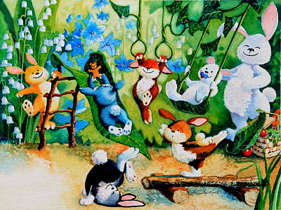 Playground Painting - Bunny Tricks by Hanne Lore Koehler