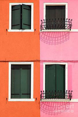 Burano Pink And Orange Print by Inge Johnsson