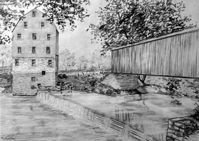 Covered Bridge Drawing - Burfordsville Bridge And Bollinger Mill by James Pinkerton