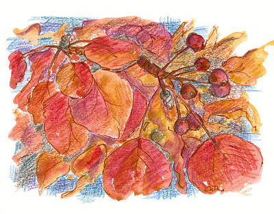 Changing Leaves Drawing - Burgundy Berries by Cathie Richardson