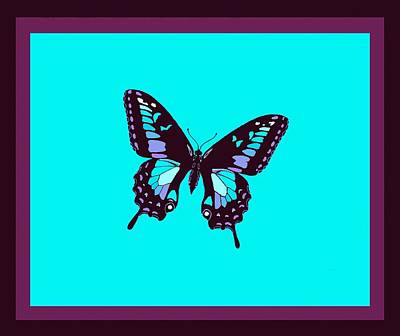 Burgundy Butterfly Blue Background 2 Borders Print by L Brown