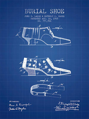 Shoe Digital Art - Burial Shoe Patent From 1905 - Blueprint by Aged Pixel