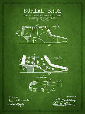 Shoe Digital Art - Burial Shoe Patent From 1905 - Green by Aged Pixel