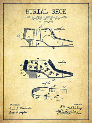 Shoe Digital Art - Burial Shoe Patent From 1905 - Vintage by Aged Pixel
