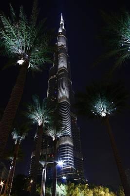 Burj Khalifa From Under The Palms Print by FireFlux Studios