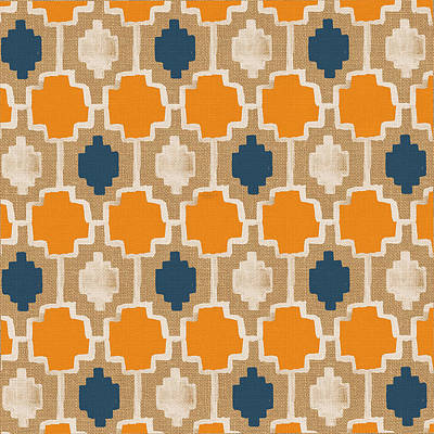 Moroccan Painting - Burlap Blue And Orange Design by Linda Woods