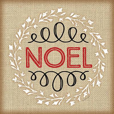 Christmas Painting - Burlap Noel by Jennifer Pugh