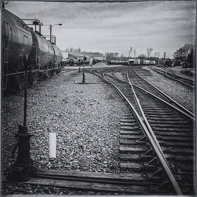 Cloudscape Digital Art - Burlington Vermont Train Yard Vintage Grunge Black And White by Andy Gimino